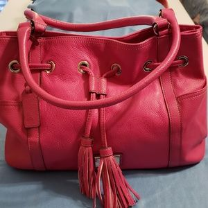 Tignanello Drawstring Satchel Bright Pink